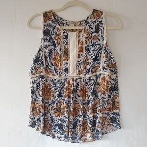 Lucky Brand • paisley floral sleeveless blouse